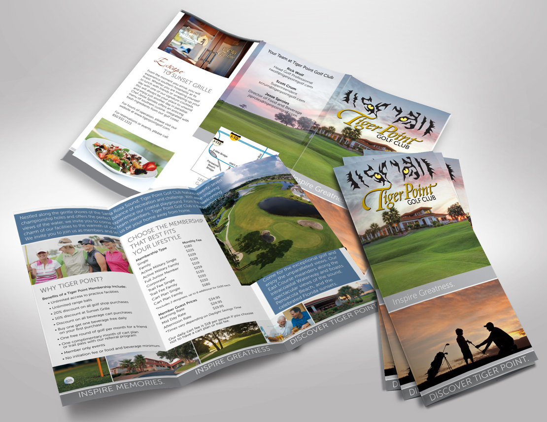 Tri-fold brochure custom designed and printed for Tiger Point Golf
