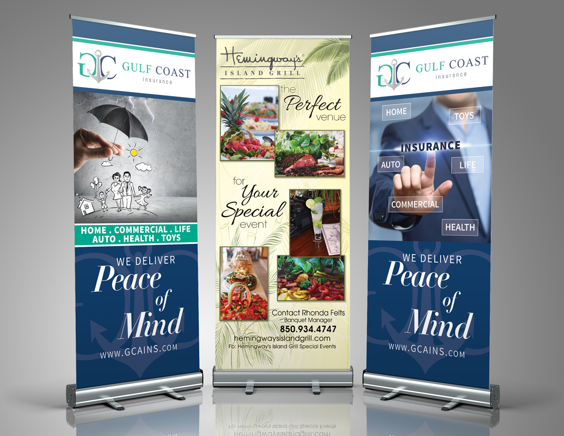 Retractable banner design and printing. Display items