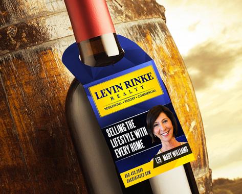 Clever promotional wine hanger for realtor
