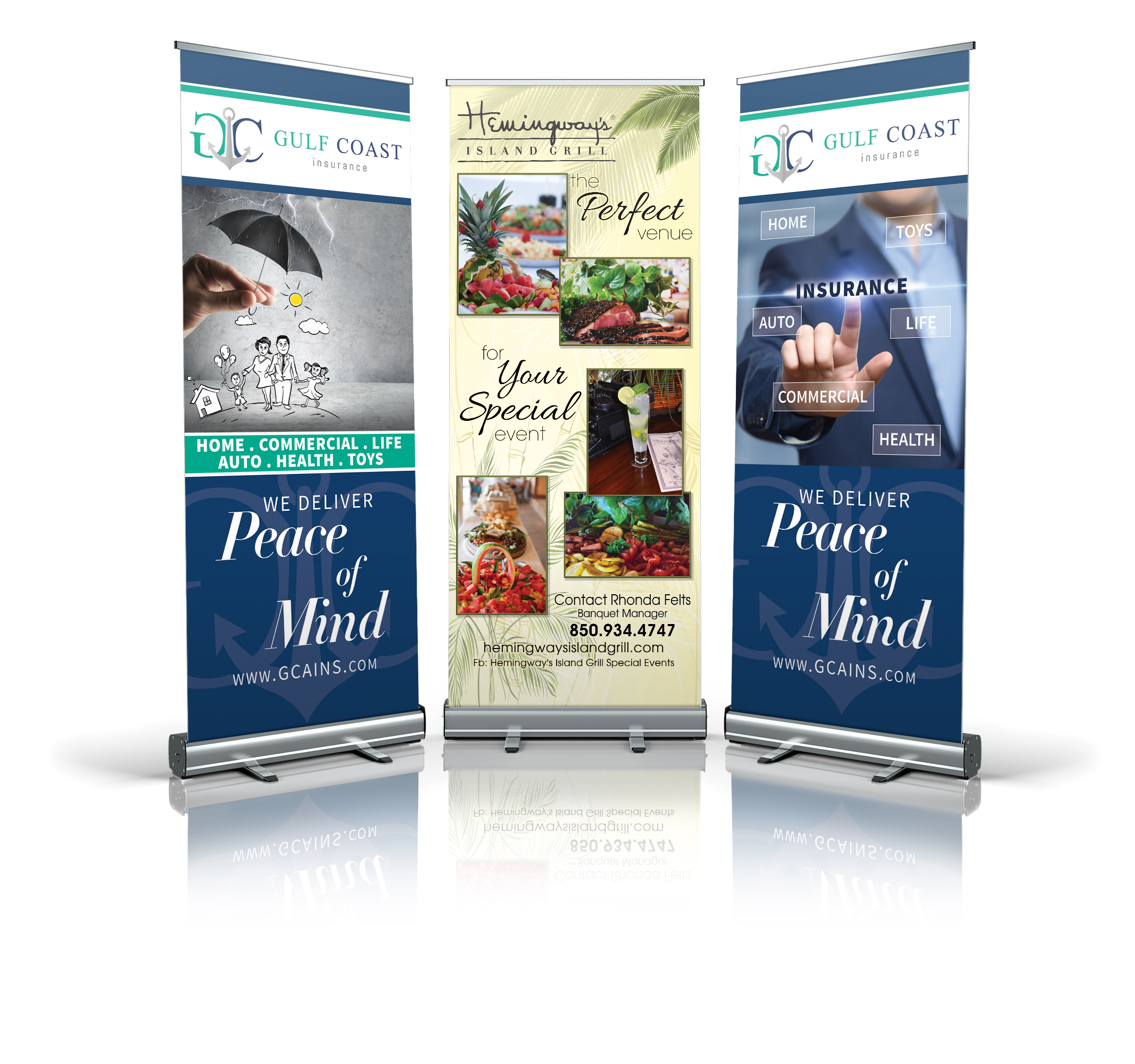 graphic design on custom printed banner for exhibition