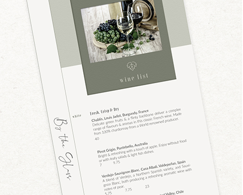 Pensacola menu design